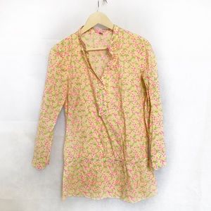 Lily Pulitzer half Button Floral Top Size 6
